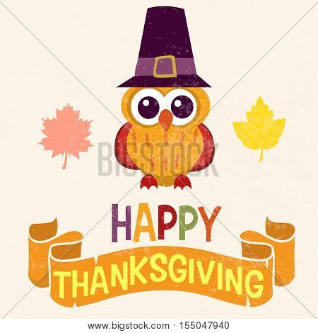 Retro Thanksgiving Day card design with cute little owl in Pilgrim hat on light background