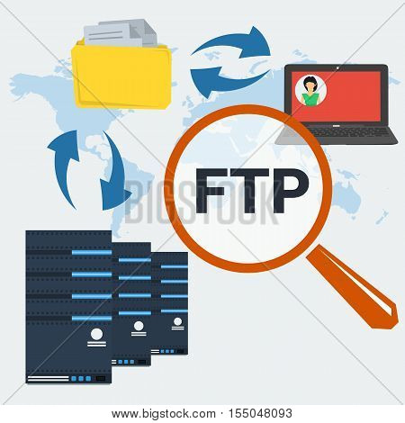 Vector concept internet FTP connection. Big magnifier, server icons, folder with documents and computer with user avatar on monitor. Illustration in flat style on world map background