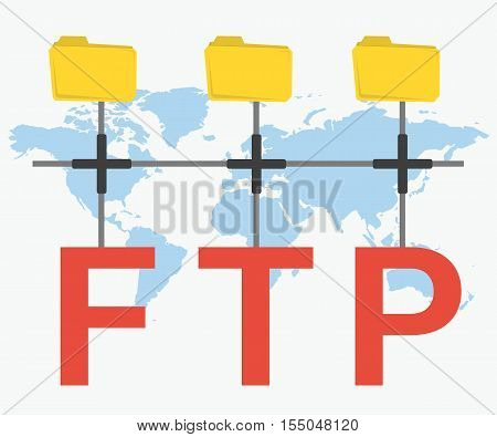 Vector concept secure FTP connection. Three yellow file folders connected with red letters. Illustration on world map background in flat style