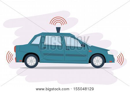 Vector self driving car isolated on white. Blue autonomous driverless sedan. Future technologies in flat style