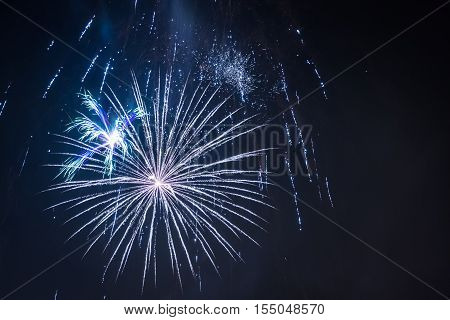 White Fireworks During The Celebrations At Night