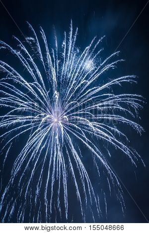 Big Blue Fireworks During The Celebrations At Night