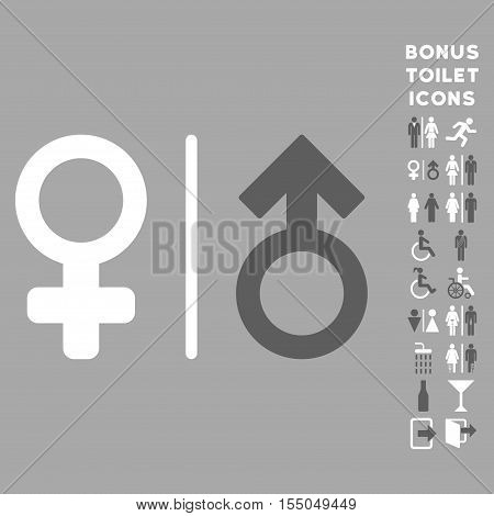 WC Gender Symbols icon and bonus male and woman WC symbols. Vector illustration style is flat iconic bicolor symbols, dark gray and white colors, silver background.