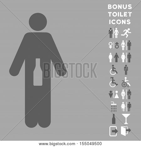 WC Man icon and bonus male and woman WC symbols. Vector illustration style is flat iconic bicolor symbols, dark gray and white colors, silver background.