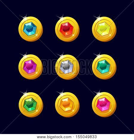 Icons coins for the game interface. Set of different cartoon coins with colorful gemstones inside for web, game or application interface. Modern vector illustration game art