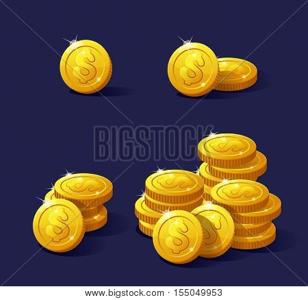 Icons coins for the game interface. Set of cartoon coins for web, game or application interface. Modern vector illustration game art, animation for game and apps. Stack of coins. Coins dollar.