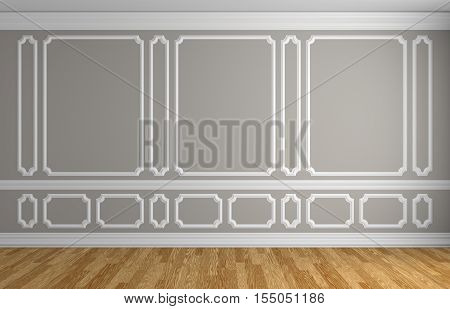 Gray wall with white decorative moldings elements on wall in classic style empty room with wooden parquet floor and white baseboard classic style architectural background 3d illustration interior