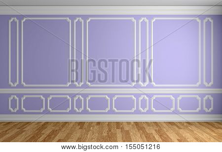 Violet wall with white decorative moldings elements on wall in classic style empty room with wooden parquet floor and white baseboard classic style architectural background 3d illustration interior