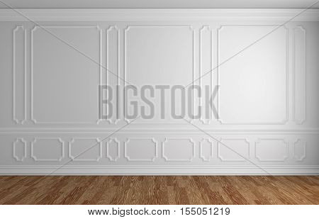 White wall with white decorative moldings elements on wall in classic style empty room with wooden parquet floor and white baseboard classic style architectural background 3d illustration interior