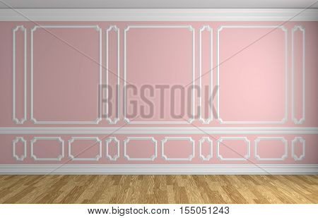 Pink wall with white decorative moldings elements on wall in classic style empty room with wooden parquet floor and white baseboard classic style architectural background 3d illustration interior