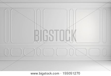 White wall with white decorative moldings elements on wall in classic style empty room classic style non-color colorless architectural background 3d illustration interior