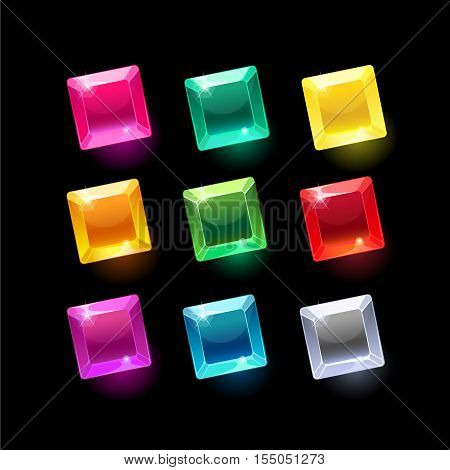 Set of cartoon square different shapes crystals, gemstones, gems, diamonds vector gui assets collection for game design.isolated vector elements.Gui elements, vector games assets.menu for mobile games