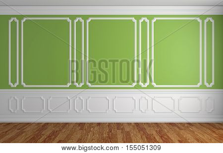 Green wall with white moldings and decorations on wall in classic style empty room with wooden parquet floor and white baseboard classic style architectural background 3d illustration interior