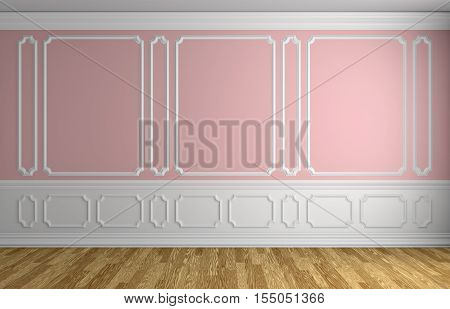 Pink wall with white moldings and decorations on wall in classic style empty room with wooden parquet floor and white baseboard classic style architectural background 3d illustration interior