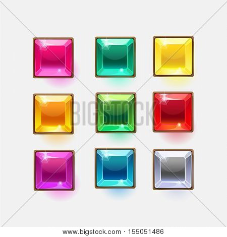Beautiful glossy crystal square shapes for web or game design, vector colorful shiny buttons on white background.vector elements. Gui elements, vector isolated games assets.