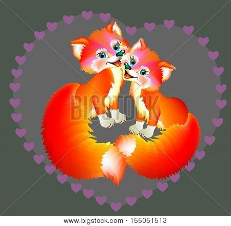Couple of happy foxes, vector cartoon image.