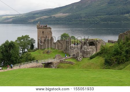 Urquhart Castle on the Loch Ness lake Scotland