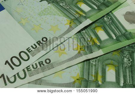100 Euro (EUR) banknotes - legal tender of the European Union