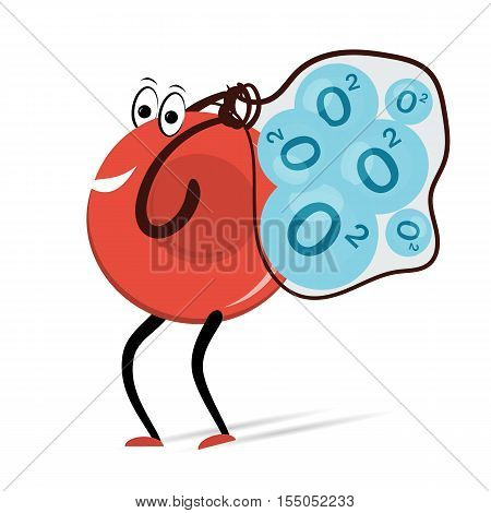 Vector illustration. Drawing. Red Blood Cell Erythrocyte carries oxygen molecules in bag cartoon. Use for medicine infographic and education concept
