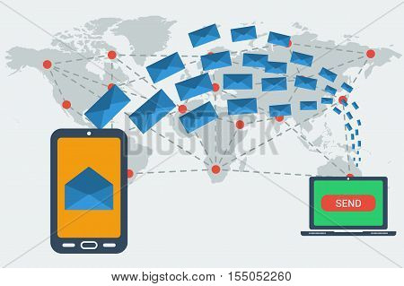 Smart phone with received a letter and computer sending many blue envelopes around the world. Vector concept of communication and e-mailing worldwide. Illustration in flat style