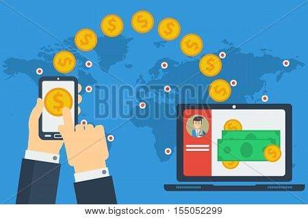 Vector concept of worldwide money transfer. Sending yellow coins from smart phone in businessman hands to personal account on computer. Illustration in flat style. Web infographics poster