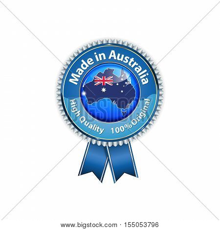 Made in Australia, High Quality, 100% original - hanging ribbon with the Australian map and flag on the background