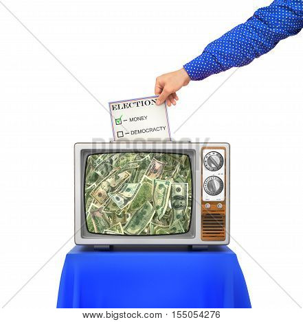 Elections concept. TV as an urn for the election ballots. The choice between money and democracy. Hand throws ballot to the urn. 3d illustration