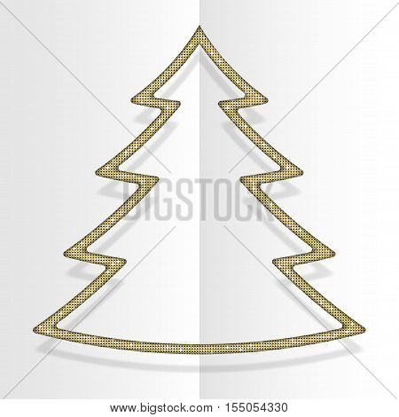Gold sequins in the form christmas tree. Mosaic sequins glitter sparkle stars. Background holiday. Winter. New Year.