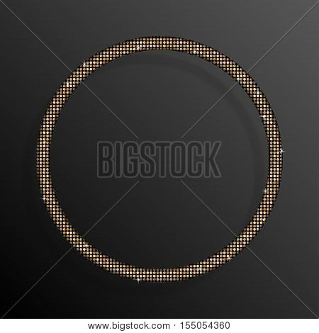 Frame made of Gold sequins in the form circle. Mosaic sequins glitter sparkle stars.