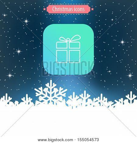 Christmas icon. Box. Thin line design. Vector eps10 illustration