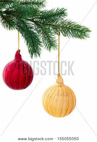 Red and gold balls hanging on tree. Isolated on white background.
