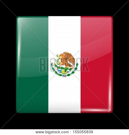 Flag Of Mexico. Glossy Icon Square Shape