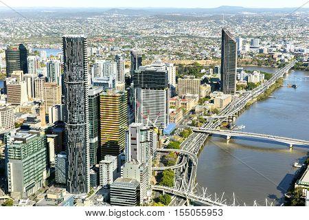 BRISBANE, AUSTRALIA - OCTOBER 18 2016: Brisbane CBD cityscape river front, view from above
