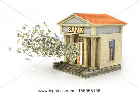 Finance concept. Money flying from door in the bank building. Deposit and percent. 3d illustration.