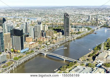 BRISBANE, AUSTRALIA - OCTOBER 18 2016: Brisbane CBD cityscape and South Bank with Victoria bridge over the river, view from above.