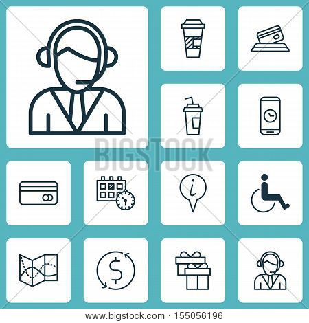 Set Of Airport Icons On Operator, Accessibility And Road Map Topics. Editable Vector Illustration. I