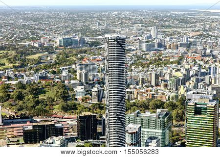BRISBANE, AUSTRALIA - OCTOBER 18 2016: Brisbane Meriton building closeup and surrounds
