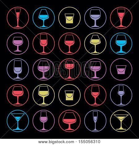 Colorful vector drinking glasses collection. Set of alcohol theme simple illustrations.