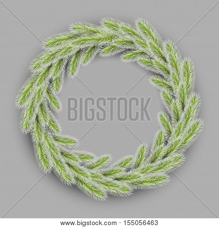 vector green christmas wreath, with ice. realistic wreath on grey background for your christmas design