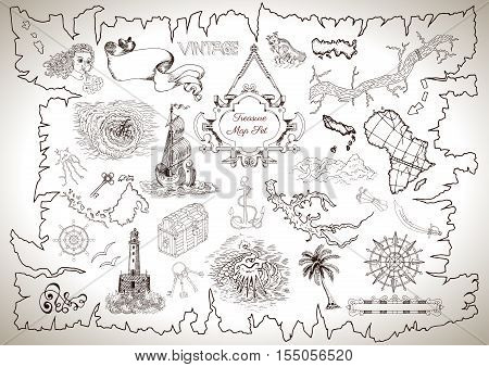 Vintage design collection for pirate map with engraved line drawings of sailing ship, light house, island and sea mystic symbols. Pirate adventures, treasure hunt and old transportation concept