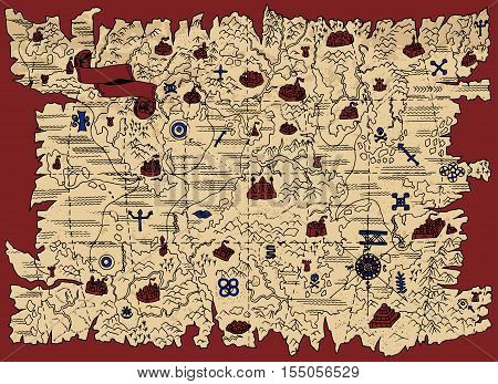 Ancient map of fantasy land with pirate treasures and vintage banner on red. Pirate adventures, treasure hunt and old transportation concept. Grunge background with graphic mystic drawings
