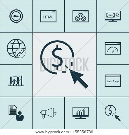 Set Of Advertising Icons On Ppc, Keyword Marketing And Media Campaign Topics. Editable Vector Illust