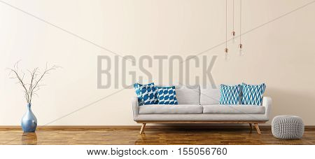 Interior Of Living Room With Sofa And Pouf 3D Rendering