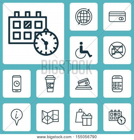 Set Of Travel Icons On Road Map, Calculation And World Topics. Editable Vector Illustration. Include