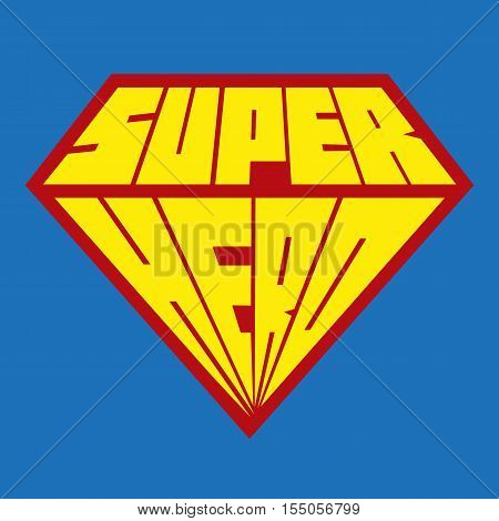 Superhero icon - vector superhero logo on blue background