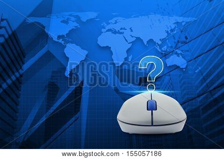 Wireless computer mouse with question mark sign icon over map and city tower Customer support concept Elements of this image furnished by NASA