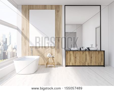 Interior of bathroom with mirror bath tub table with towels and sink. Large vertical poster on wall panoramic window. 3d rendering. Mock up