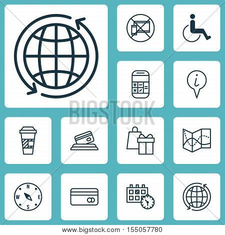Set Of Transportation Icons On Locate, Info Pointer And Accessibility Topics. Editable Vector Illust