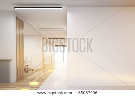 Office corridor with large blank wall and row of conference rooms with wooden wall and floor decoration. 3d rendering. Mock up. Toned image