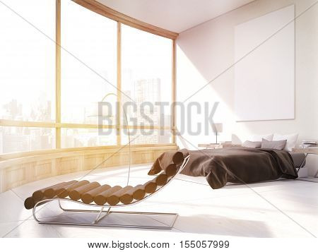 Master bedroom with bed massage chair and large poster on white wall. Panoramic window with city view. 3d rendering. Mock up. Toned image